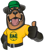 E&E Lawn Care's cartoon bear mascot