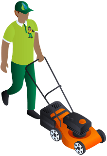 Cartoon man with lawn mower icon