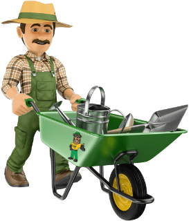 Man with wheelbarrow cartoon icon