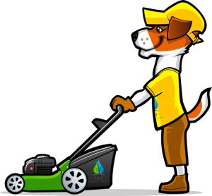 Cartoon man with wheelbarrow icon.