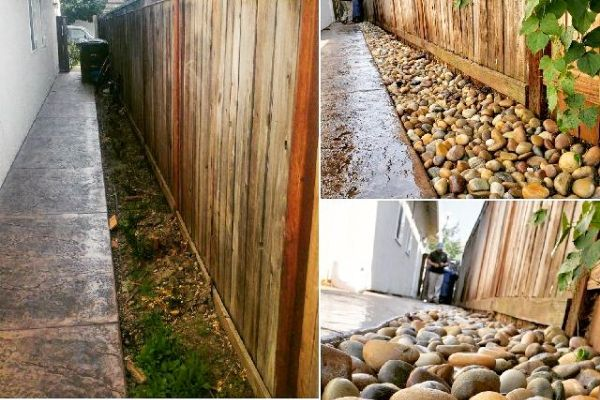Three pictures of before and after install of rocks