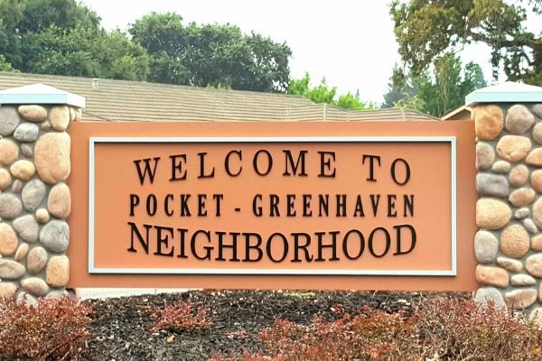 The welcome to Pocket-Greenhaven neighborhood sign.