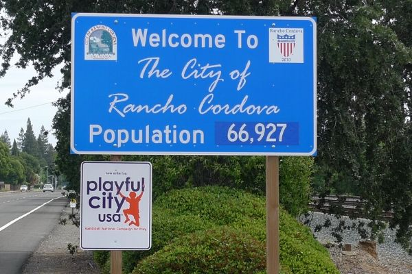 The welcome to Rancho Cordova, CA sign.